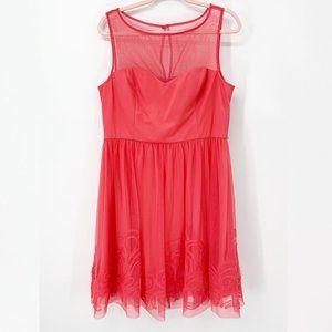Eliza J Sleeveless Illusion Mesh A Line Dress XL
